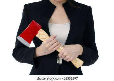 Close-up of a businesswoman carrying an axe, isolated on white background.
