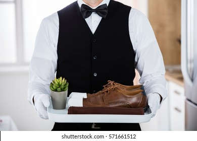 Close-up Of Butler Carrying Pair Of Brown Shoes And Small Cactus Pot On Plastic Tray