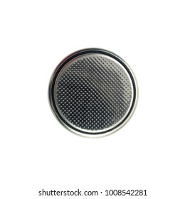 Closeup button cell battery or or coin cell