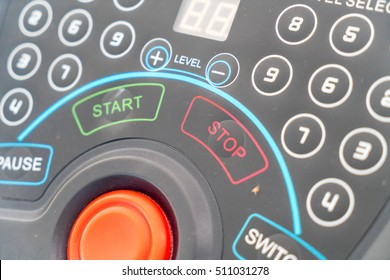 close-up button on exercise machine