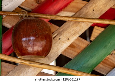 Closeup of cabasa, resonance box of the Afro-Brazilian musical instrument berimbau, which accompanies the songs on the roda, or circle, of capoeira, Afro-Brazilian martial art