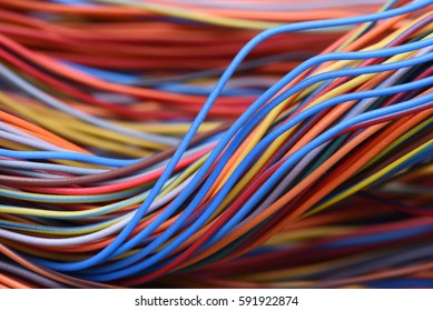 Closeup of cable and wire in computer network systems