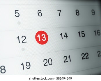 Closeup of Calendar page on LCD Screen