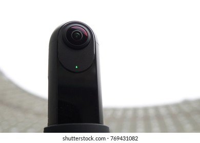 Close-up of the camera is 360 degrees. Modern technologies for live broadcasts.