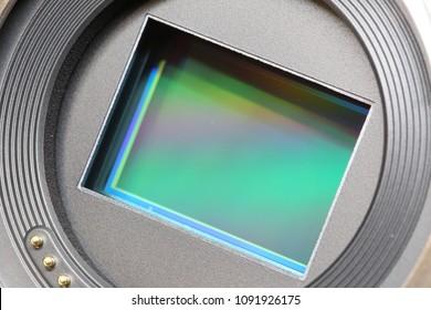 Close-up of camera sensor CCD  CMOS