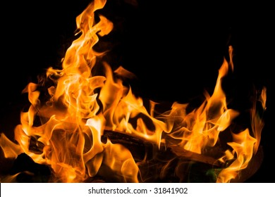 Closeup of campfire on a black background