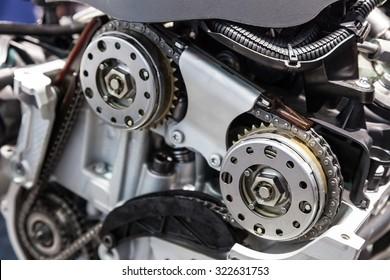 Closeup of a camshaft drive chain