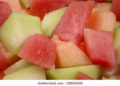 close-up of canteloupe honeydew and watermelon cubes
