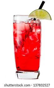closeup of a cape cod cocktail or vodka cranberry isolated on a white background