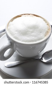 close-up of a cappuccino in studio