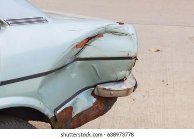 closeup car crash on the dashboard, accident concept