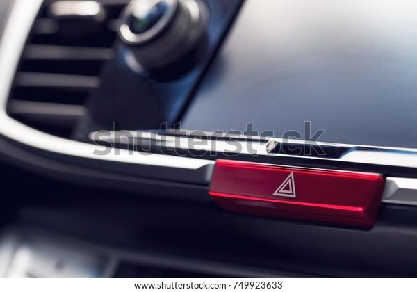 Closeup Car Dashboard Hazard Flasher Switch Stock Photo