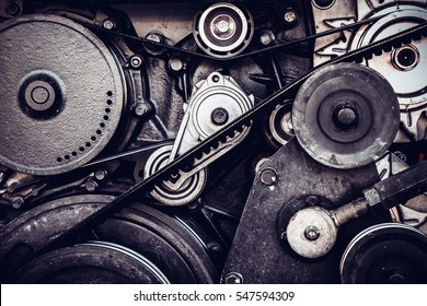 close-up car engine, internal combustion engine.