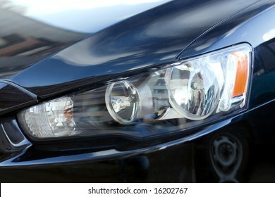 closeup of car headlight