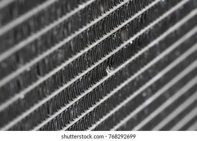 Closeup of a car radiator.