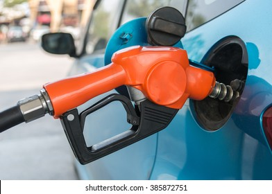 Close-up Car refueling on a petrol station