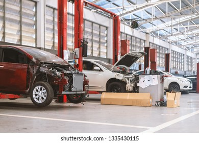 closeup car in repair station and body shop with soft-focus and over light in the background