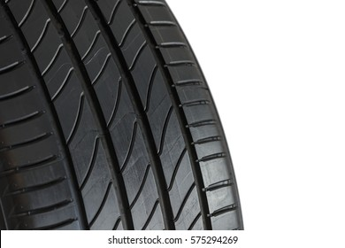 Close-up car tire isoleated on white background, concept of tire warehouse.