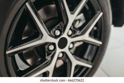 Closeup of car tire. Car wheel.