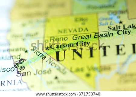 Political Map Of Nevada.Closeup Carson City Nevada On Political Stock Photo Edit Now