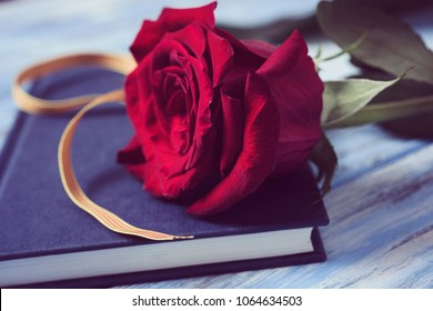 closeup of a catalan flag, a red rose, and a book for Sant Jordi, the Catalan name for Saint George Day, when it is tradition to give red roses and books in Catalonia, Spain