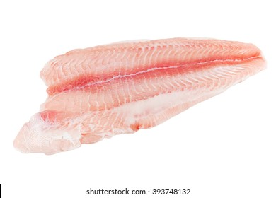 Closeup catfish slice isolated on white background