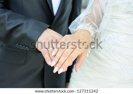 cbad24289e Closeup Caucasian Couples Hands Wedding Rings Stock Photo (Edit Now ...