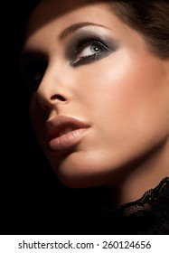 Closeup of a caucasian model wearing makeup.