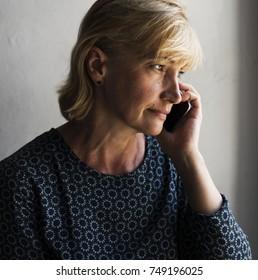 Closeup of caucasian woman using a mobile phone