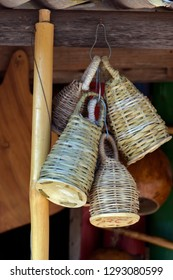 Closeup of caxixi hanging in handicraft shop, kind of rattle used to accompany the berimbau, string instrument of Angolan origin, traditional of Bahia