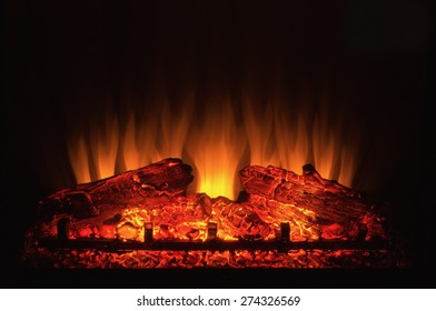 Close-up of the centre of an electric fireplace