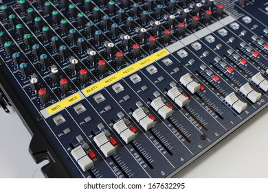 Closeup CH max volume  of sound mixing board for music.