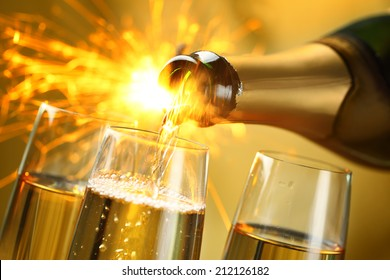 Closeup of champagne explosion.