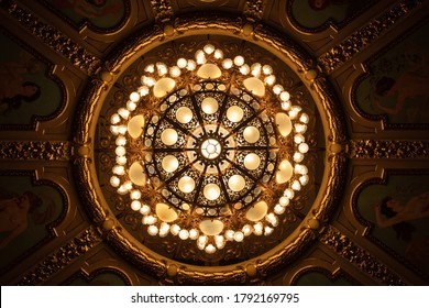 Closeup of chandelier in theatre