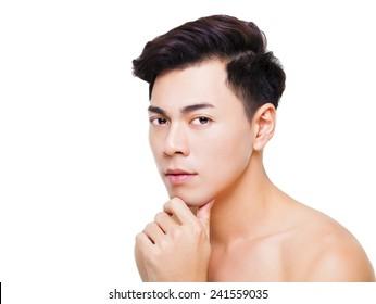 closeup charming young man face