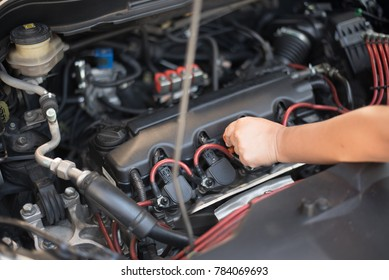 Close-up check engine car for safety drive