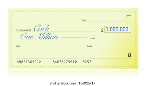 Closeup of Check Made Out for One Million Dollars illustration design over a white background