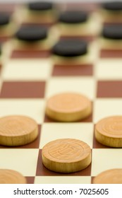 close-up of checkers game