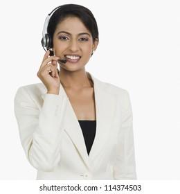 Close-up of a cheerful female customer service representative
