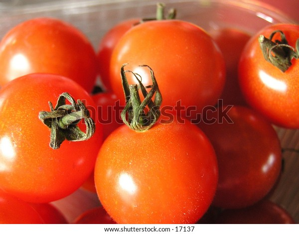 A close-up of cherry tomatoes.