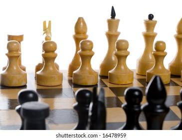 close-up chess beginning