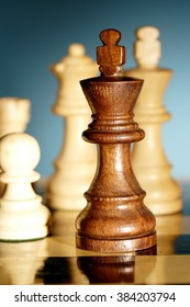 Closeup of chess king on chess board