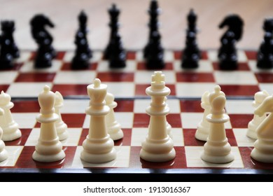 Close-up of chess pieces placed on chessboard at beginning of the game. Concept: tactics, preparation for game, chess strategy. International Chess Day. Selective focus, blurred background