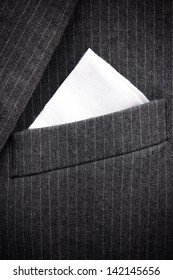 Close-up of chest pocket of men's black suit.  Please check Image ID: 116935267 for horizontal version.
