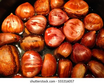 Close-up of chestnuts in a pot