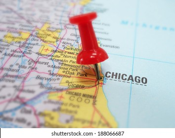 Closeup of Chicago map with red tack