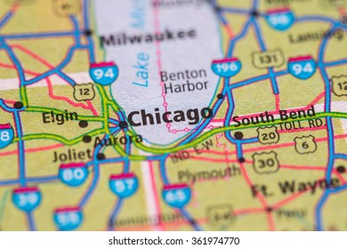 Closeup of Chicago on a geographical map.