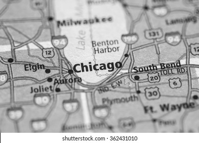 Closeup of Chicago on a geographical map. (black and white)