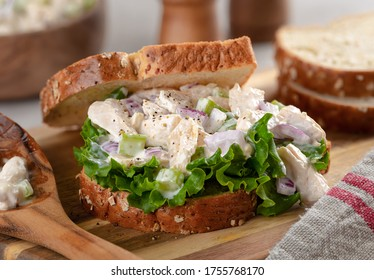 Closeup of chicken salad sandwich with lettuce on whole grain bread