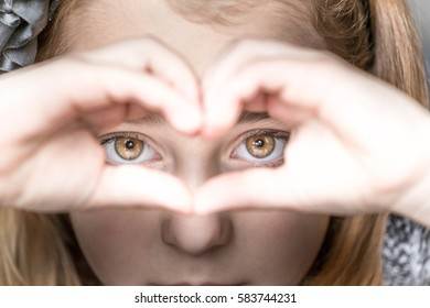 Closeup of child eyes, selective focus
